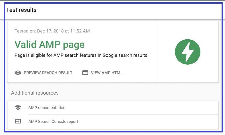 Bạn sẽ nhận được thông báo này, nếu AMP đáp ứng tiêu chuẩn của Google